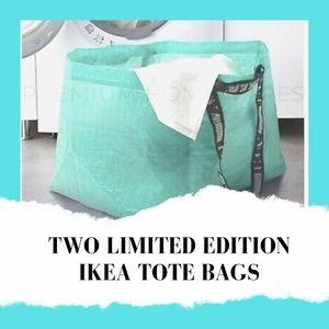 2 IKEA Slukis Frakta TURQUOISE Reusable Tote Bags